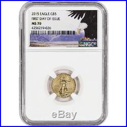 2015 American Gold Eagle (1/10 oz) $5 NGC MS70 First Day Bald Eagle Label