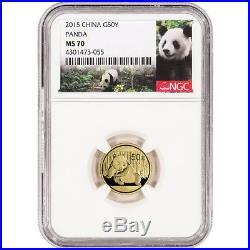 2015 China Gold Panda (1/10 oz) 50 Yuan NGC MS70 Panda Label