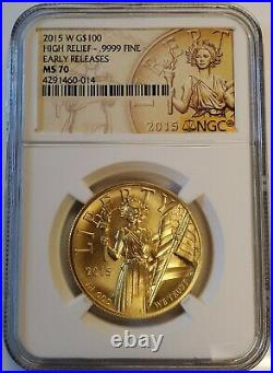 2015-W 1 oz American Liberty High Relief. 9999 Fine Gold Coin NGC MS70 ER