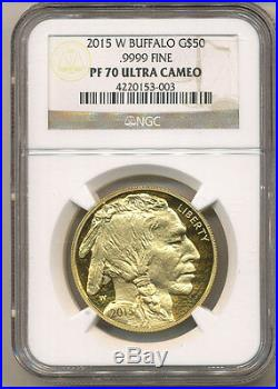 2015-W $50 NGC PF70 GOLD BUFFALO PROOF 2nd LOWEST Mintage of the 1oz PF series