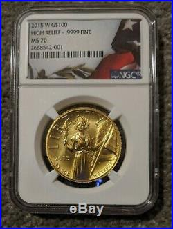 2015-W American Liberty High Relief Gold $100 MS 70 NGC with COA