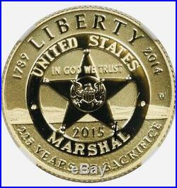 2015-W U. S. Marshals Gold Star Badge $5 NGC PF69 Ultra Cameo 1/4 oz Proof Coin
