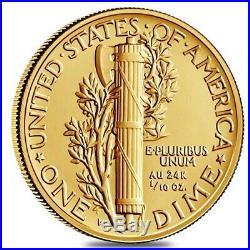2016 1/10 oz Mercury Dime Centennial Gold Coin NGC SP 70 ER 100th Ann