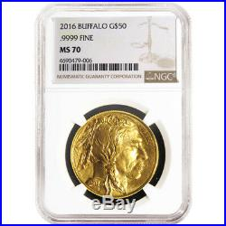 2016 $50 American Gold Buffalo 1oz NGC MS70 Brown Label
