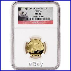 2016 China Gold Panda (8 g) 100 Yuan NGC MS70 Red Panda Label