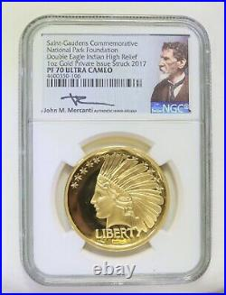2017 1oz Gold Coin St Saint Gaudens Double Indian Eagle High Relief NGC PF70
