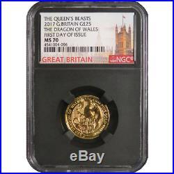 2017 U. K. 25 Pound 1/4 oz Gold Queen's Beast The Dragon NGC MS70 FDI London Lab