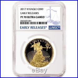 2017-W Proof $50 American Gold Eagle 1 oz NGC PF70UC Blue ER Label