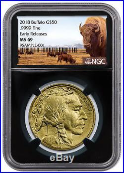 2018 1 oz Gold Buffalo $50 Coin NGC MS69 ER Black Core Buffalo Label SKU50669