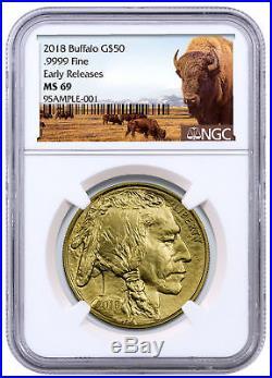 2018 1 oz Gold Buffalo $50 Coin NGC MS69 ER Buffalo Label SKU50667