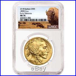 2018 $50 American Gold Buffalo NGC MS70 Buffalo ER Label