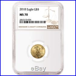 2018 $5 American Gold Eagle 1/10 oz. NGC MS70 Brown Label