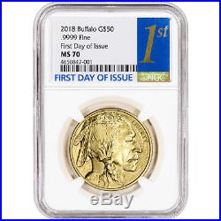2018 American Gold Buffalo (1 oz) $50 NGC MS70 First Day of Issue 1st Label