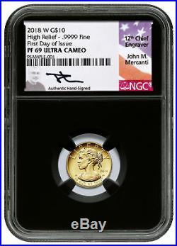2018-W 1/10 oz Gold American Liberty $10 NGC PF69 FDI Blk Mercanti SKU52768