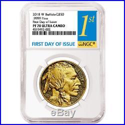2018-W Proof $50 American Gold Buffalo NGC PF70UC FDI First Label