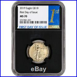 2019 American Gold Eagle 1/4 oz $10 NGC MS70 First Day of Issue 1st Black