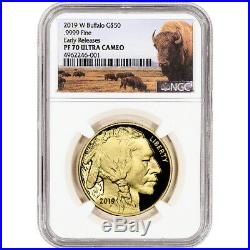 2019-W American Gold Buffalo Proof 1 oz $50 NGC PF70 UCAM Early Releases Bison