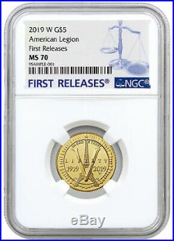2019 W American Legion 100th $5 Gold Commem Coin NGC MS70 FR SKU57442