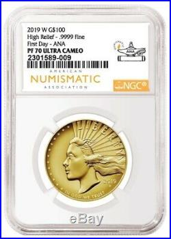2019 W Gold American Liberty High Relief G$100.9999 Ngc Pf70 First Day Ana 009