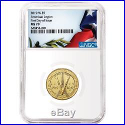 2019-W UNC $5 Gold American Legion 100th Ann. NGC MS70 FDI Flag Label
