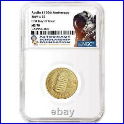 2019-W UNC $5 Gold Apollo 11 50th Ann NGC MS70 FDI ASF Label