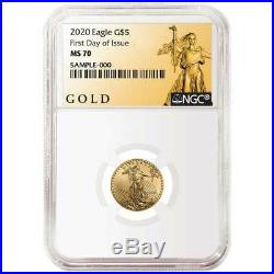 2020 $5 American Gold Eagle 1/10 oz. NGC MS70 FDI ALS Label