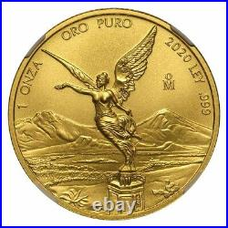 2020 Mexico 1 oz Gold Libertad MS-70 NGC (ER, Coat of Arms Label) SKU#229085