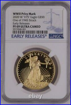 2020 WWII 75th Anniversary American Eagle Gold Proof Coin V75 Early Release PF69