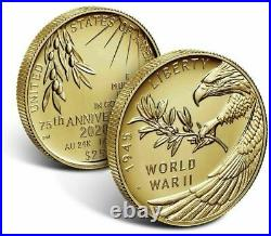 2020 W End of World War 2 WW2 75th Half Ounce 24 Karat Gold 20XG PR70 NGC PF70