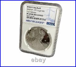 2020 W End of World War II 75th ANNIVERSARY Silver Eagle V75 PF69 FIRST RELEASES