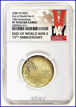 2020 W End of World War II 75th Anniversary 24-Karat Gold PR Coin NGC 70 Presale
