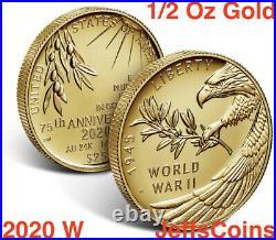 2020 W End of World War II 75th- Half Ounce 24-Karat Gold 20XG NGC PF70 Presale