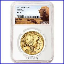 2021 $50 American Gold Buffalo NGC MS70 Buffalo Label