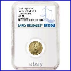 2021 $5 American Gold Eagle 1/10 oz. NGC MS70 Blue ER Label
