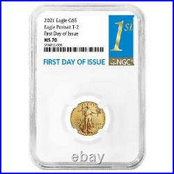 2021 $5 Type 2 American Gold Eagle 1/10 oz. NGC MS70 FDI First Label