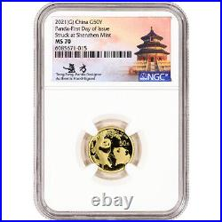 2021 (G) China Gold Panda 3 g 50 Yuan NGC MS70 First Day Issue Fang Signed