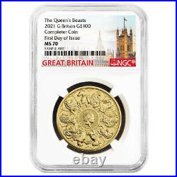 2021 U. K. 100 Pound 1 oz Gold Queen's Beast Completer Coin NGC MS70 FDI Great Br