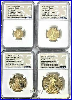 2021 W Gold Eagle First Releases PF70 Ultra Cameo NGC (Set of 4)