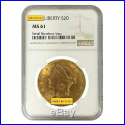 $20 Gold Double Eagle Liberty Head NGC MS 61 (Random Year)