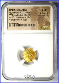 317 289 BC Apollo Sicily Agathocles AV Decadrachm ancient gold coin NGC Ch XF