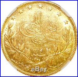 AH1327//4 Turkey 100 Kurush Gold Coin Toughra Mehmed V Reshad NGC MS62