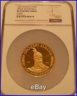 Albania 1969 Gold 500 Leke NGC PF-67UC Prince Skanderbeg Mintage 200