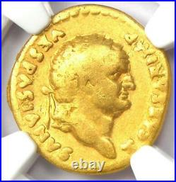 Ancient Roman Empire Titus Gold AV Aureus Coin 79-81 AD Certified NGC Fine