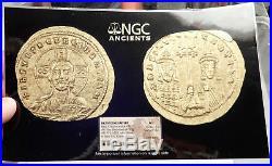 Basil II & Constantine VIII. Ancient Byzantine GOLD Coin JESUS CHRIST NGC i69600