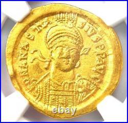 Byzantine Anastasius I AV Solidus Gold Christ Coin 491-518 AD NGC Choice AU