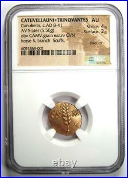 Catuvellauni Trinovantes Cunobelin AV Stater Horse Coin 8-41 AD NGC AU