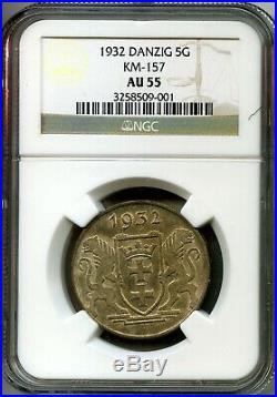 DANZIG 1932 5 Gulden Krantor Crane NGC AU55 Choice golden toned EF coin RARE