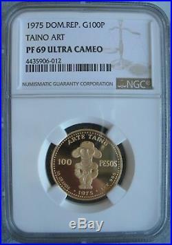 Dominican Republic 1975 Gold 100 Pesos NGC-PF-69 Ult. Cameo TAINO ART