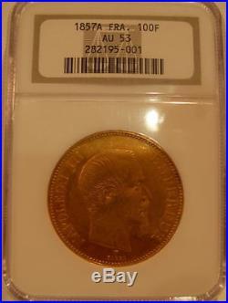 France 1857 A Gold 100 Francs NGC AU53 Napoleon III