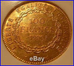 France 1900 A Gold 100 Francs NGC AU-58 Angel